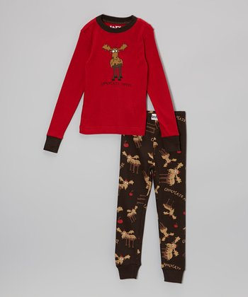 Red & Brown Chocolate Moose Pajama Set - Toddler & Boys