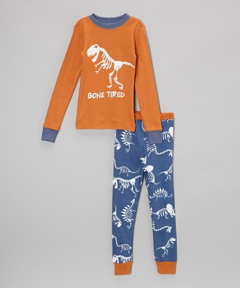 Orange & Blue 'Bone Tired' Pajama Set - Toddler & Boys