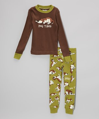 Brown & Green 'Dog Tired' Pajama Set - Toddler & Kids
