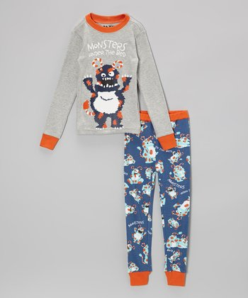 Gray 'Monsters' Pajama Set - Toddler & Kids