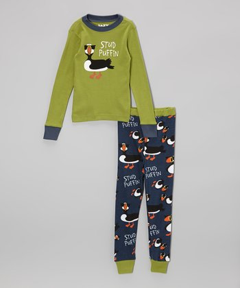 Green 'Stud Puffin' Pajama Set - Toddler & Kids