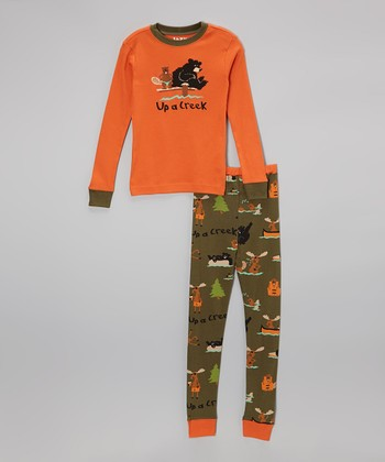 Orange 'Up a Creek' Pajama Set - Toddler & Kids