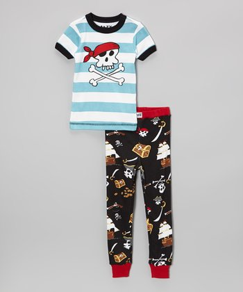 Blue Stripe Pirate Pajama Set - Toddler & Boys