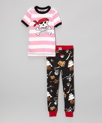 Pink Stripe Pirate Pajama Set - Toddler & Girls