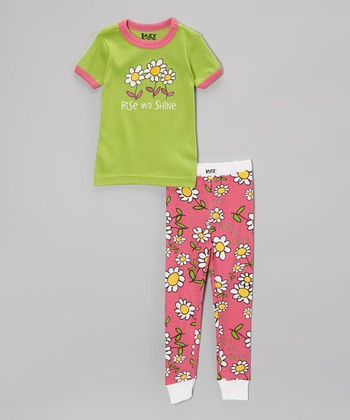 Green 'Rise and Shine' Pajama Set - Toddler & Girls