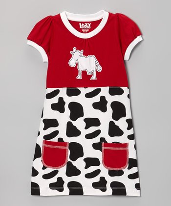 Red Cow Tee Dress - Toddler & GIrls