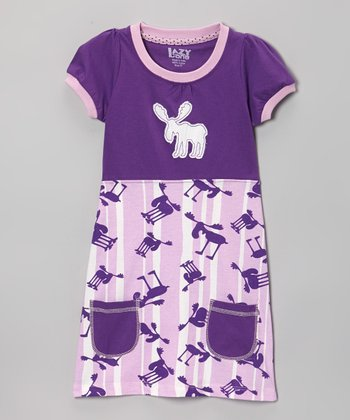 Purple & Lavender Stripe Moose Dress - Toddler & Girls