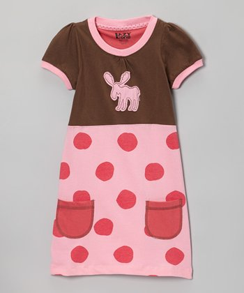 Pink Polka Dot Moose Tee Dress - Toddler & Girls
