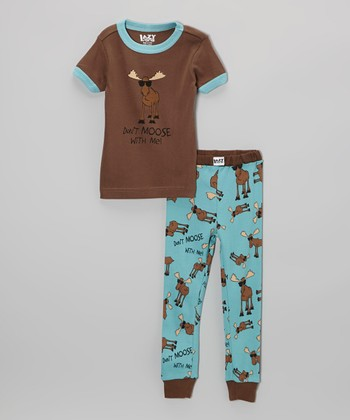 Brown 'Don't Moose With Me' Pajama Set - Toddler & Kids