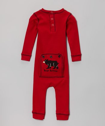 Red Bear Bottom Flapjack Playsuit - Infant