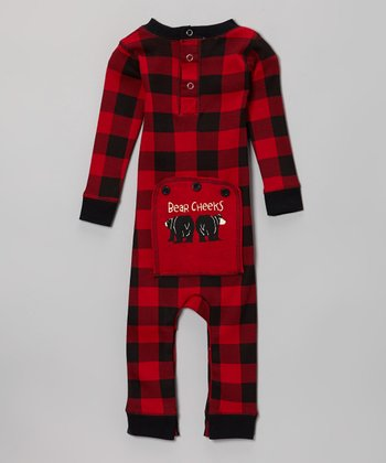 Red Plaid Bear Cheeks Flapjack Playsuit - Infant