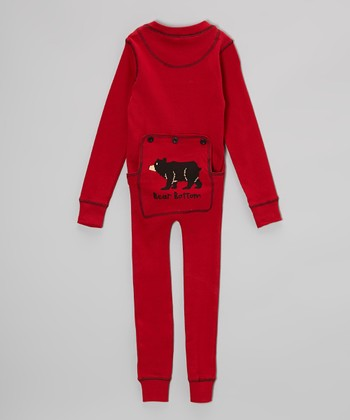 Red Stripe Bear Bottom Pajamas - Toddler & Kids
