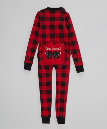 Red & Black Plaid Bear Cheeks Pajamas - Toddler & Kids