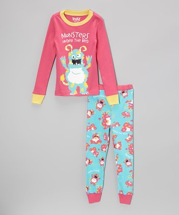Pink & Aqua 'Monsters' Pajama Set - Toddler & Kids