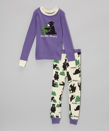 Purple 'Huckle-Beary' Pajama Set - Toddler & Kids