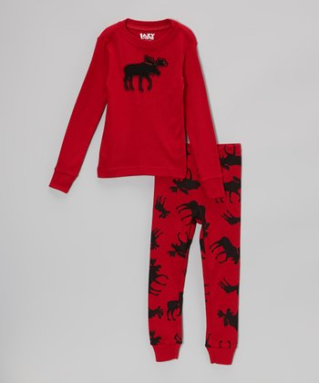 Red Moose Pajama Set - Toddler & Kids