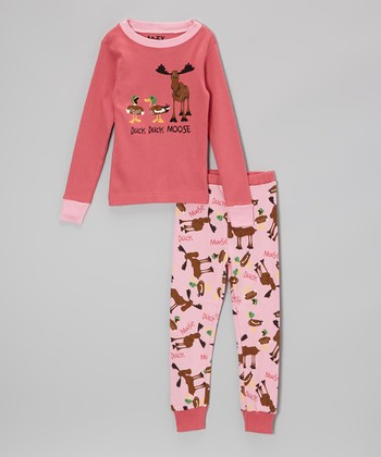 Pink 'Duck Duck Moose' Pajama Set - Toddler & Kids