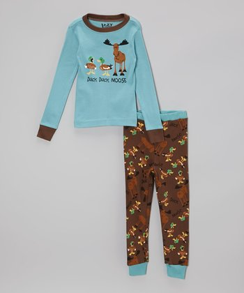 Blue & Brown 'Duck Duck Moose' Pajama Set - Toddler & Kids