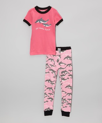 Pink Dolphin Pajama Set - Toddler & Kids