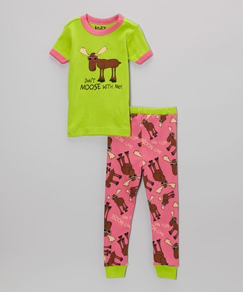 Green & Pink 'Don't Moose With Me' Pajama Set - Toddler & Girls
