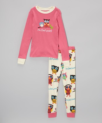 Pink 'Owl Yours' Pajama Set - Toddler & Girls