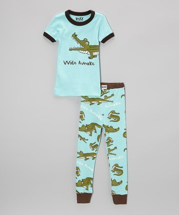 Aqua 'Wide Awake' Pajama Set - Toddler & Boys