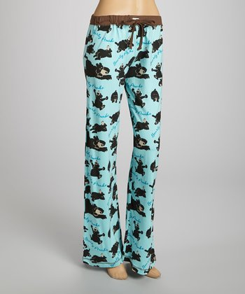 Blue 'Bearly Awake' Yoga Pants - Women