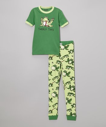 Green 'Toadally Tired' Pajama Set - Toddler & Girls