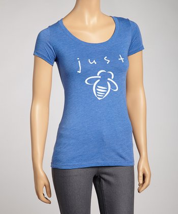Blue 'Just Bee' Scoop Neck Tee - Women