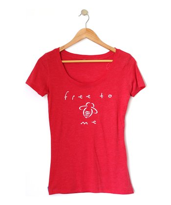 Red 'Free to Bee' Scoop Neck Tee - Women