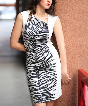 Black & White Snow Tiger Ruched Sleeveless Dress