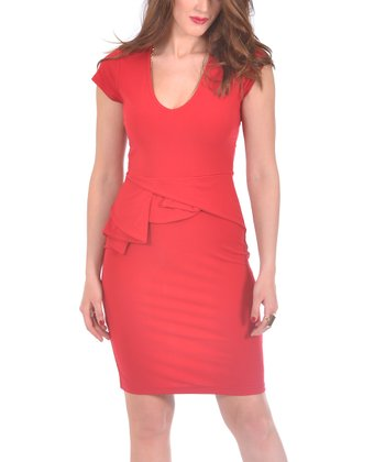 Red Peplum Cap-Sleeve Dress