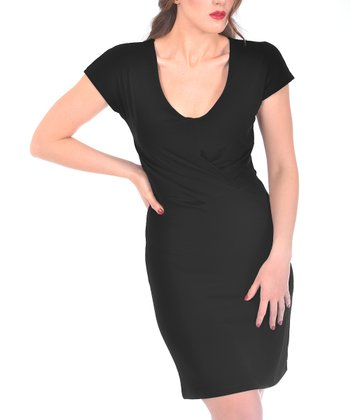 Black Scoop Neck Cap-Sleeve Dress