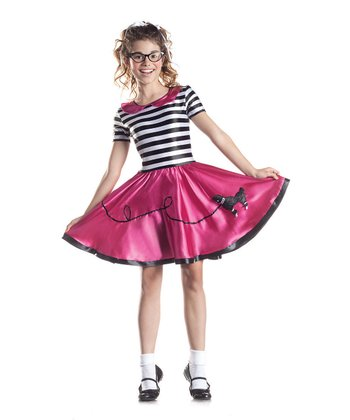 Black & Fuchsia Stripe Poodle Girl Dress - Girls