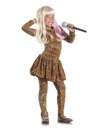 Tan Leopard Rap Superstar Dress-Up Set - Girls