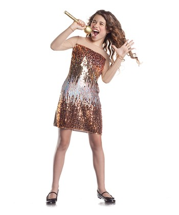 Bronze Sequin Country Cutie Dress - Girls