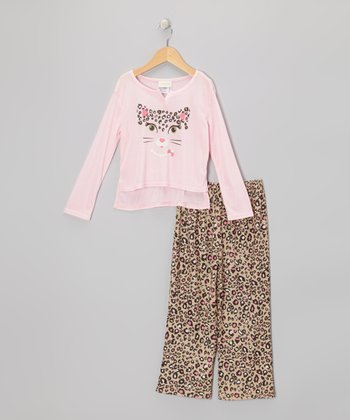 Light Pink Leopard Pajama Set - Toddler & Girls
