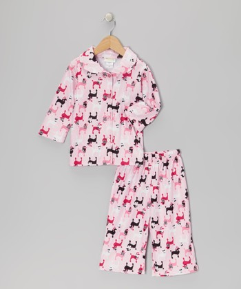 Light Pink Poodle Pajama Set - Toddler & Girls
