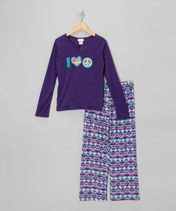 Purple Peace Sign Pajama Set - Girls
