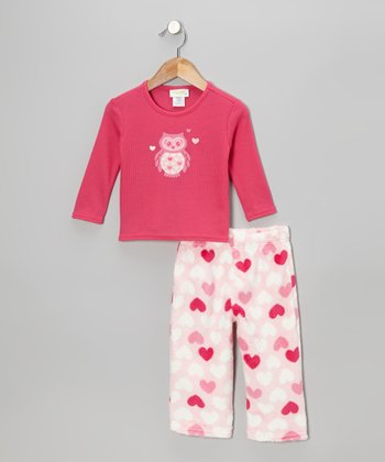 Pink Owl Thermal Pajama Set - Toddler & Girls