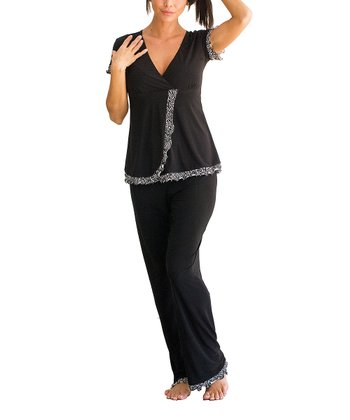 Black Paradise Nursing Pajama Set - Women