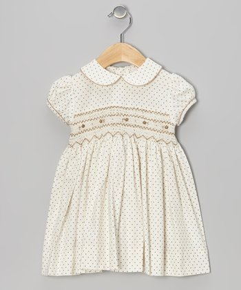 Brown Pink Dot Smocked Dress - Infant