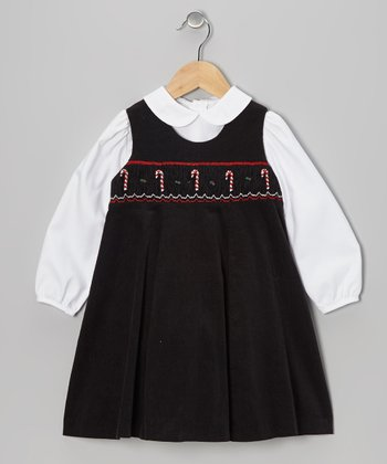 Black Candy Cane Smocked Top & Jumper - Toddler & Girls