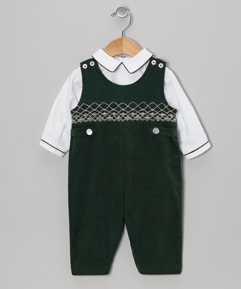 Hunter Green & White Top & Overalls - Infant