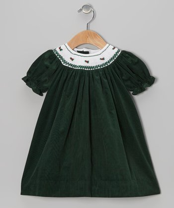 Hunter Green Rosette Bishop Dress - Infant & Toddler