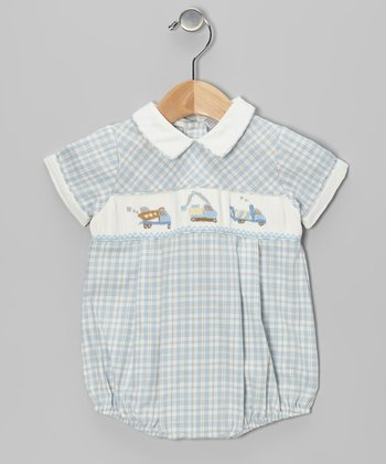 Blue Plaid Trucks Smocked Bubble Bodysuit - Infant