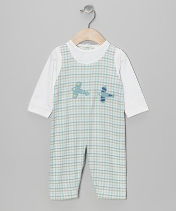 Blue & Green Plaid Airplane Playsuit - Infant