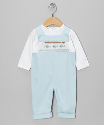 Blue Fish Smocked Playsuit - Infant