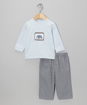 Blue Elephant Smocked Top & Brown Gingham Pants - Infant