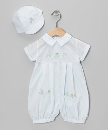 Blue Train Bubble Romper & Cap - Infant